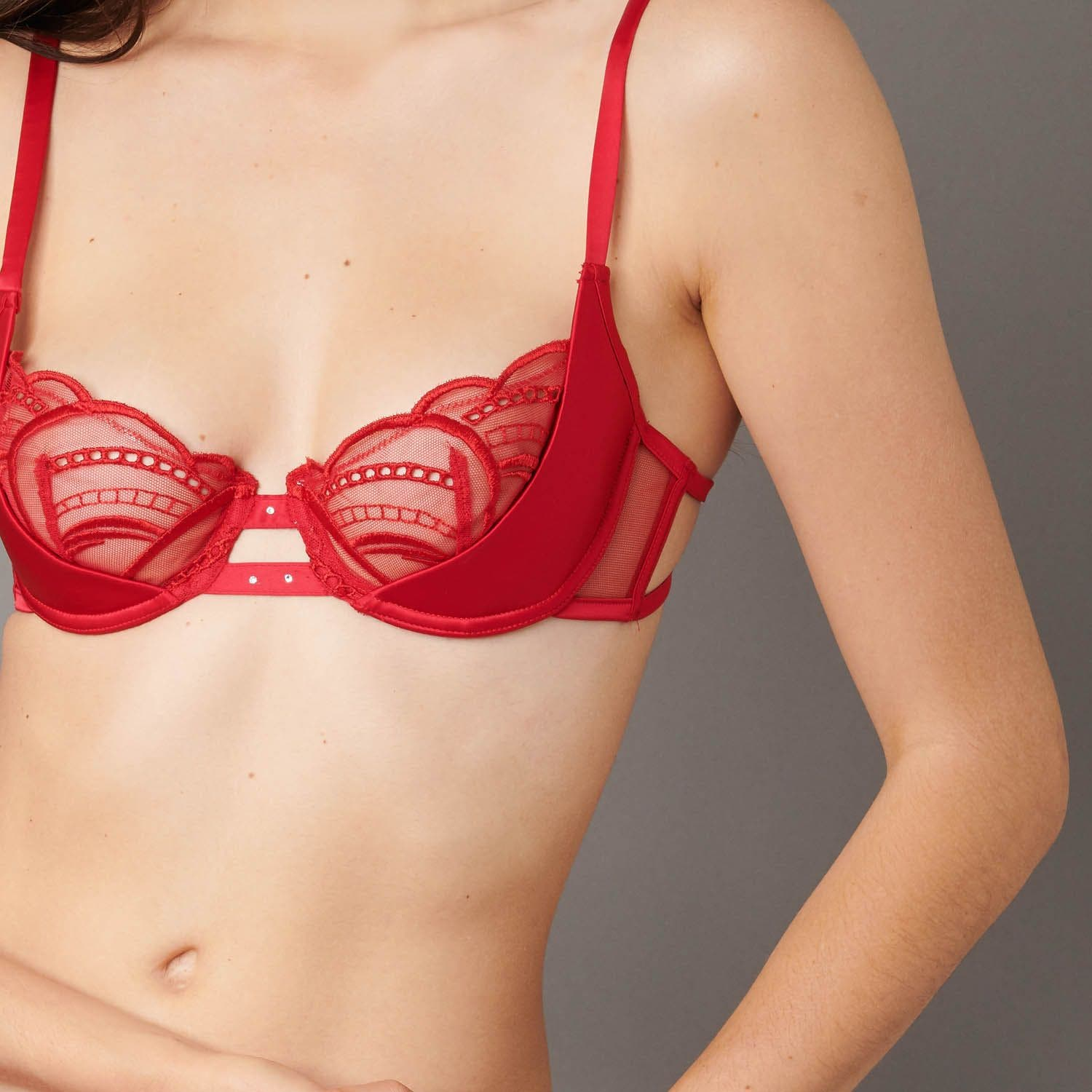 Half cup bra - Poppy Red