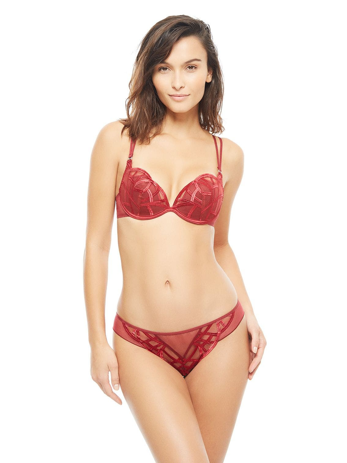Plunging push-up bra - Wine