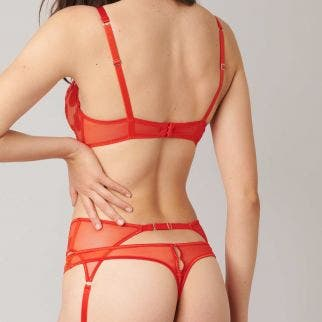 Full cup plunge bra - Chili