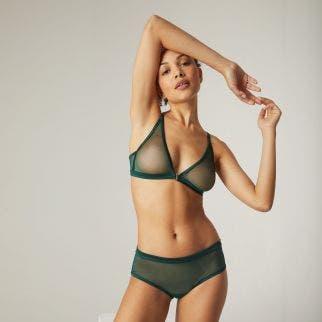 Soft cup triangle bra - Amazonia Green