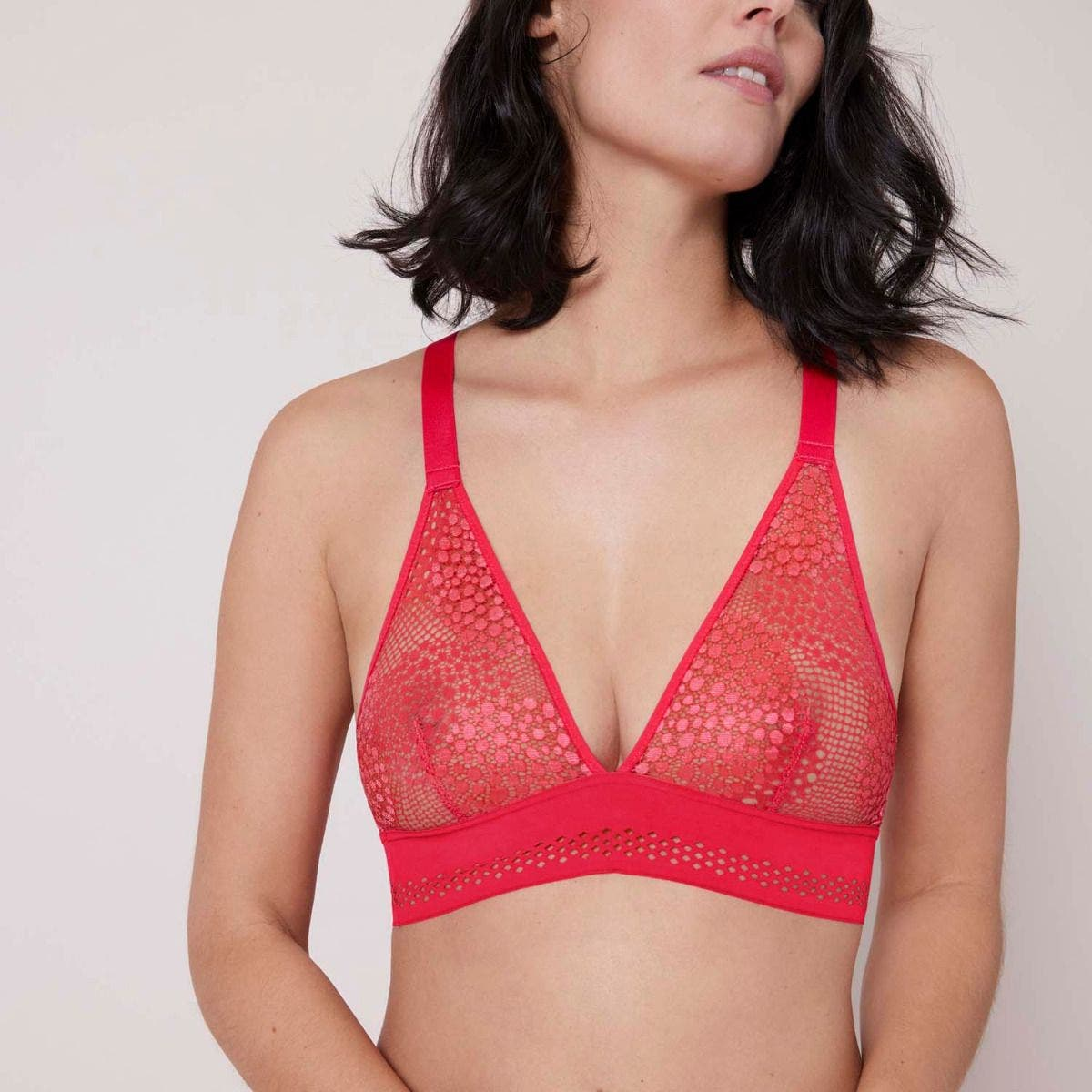 Soft cup triangle bra - Flamingo