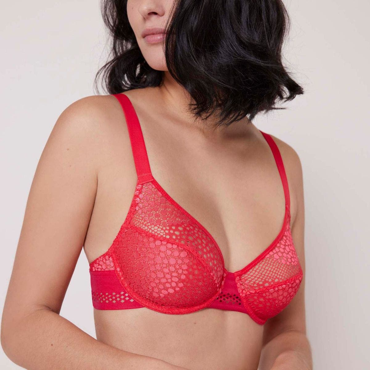 Full cup plunge bra - Flamingo