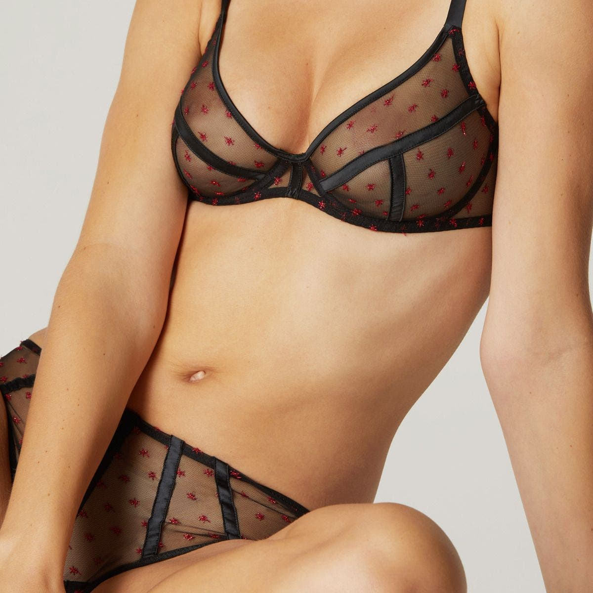Full cup plunge bra - Black/Red