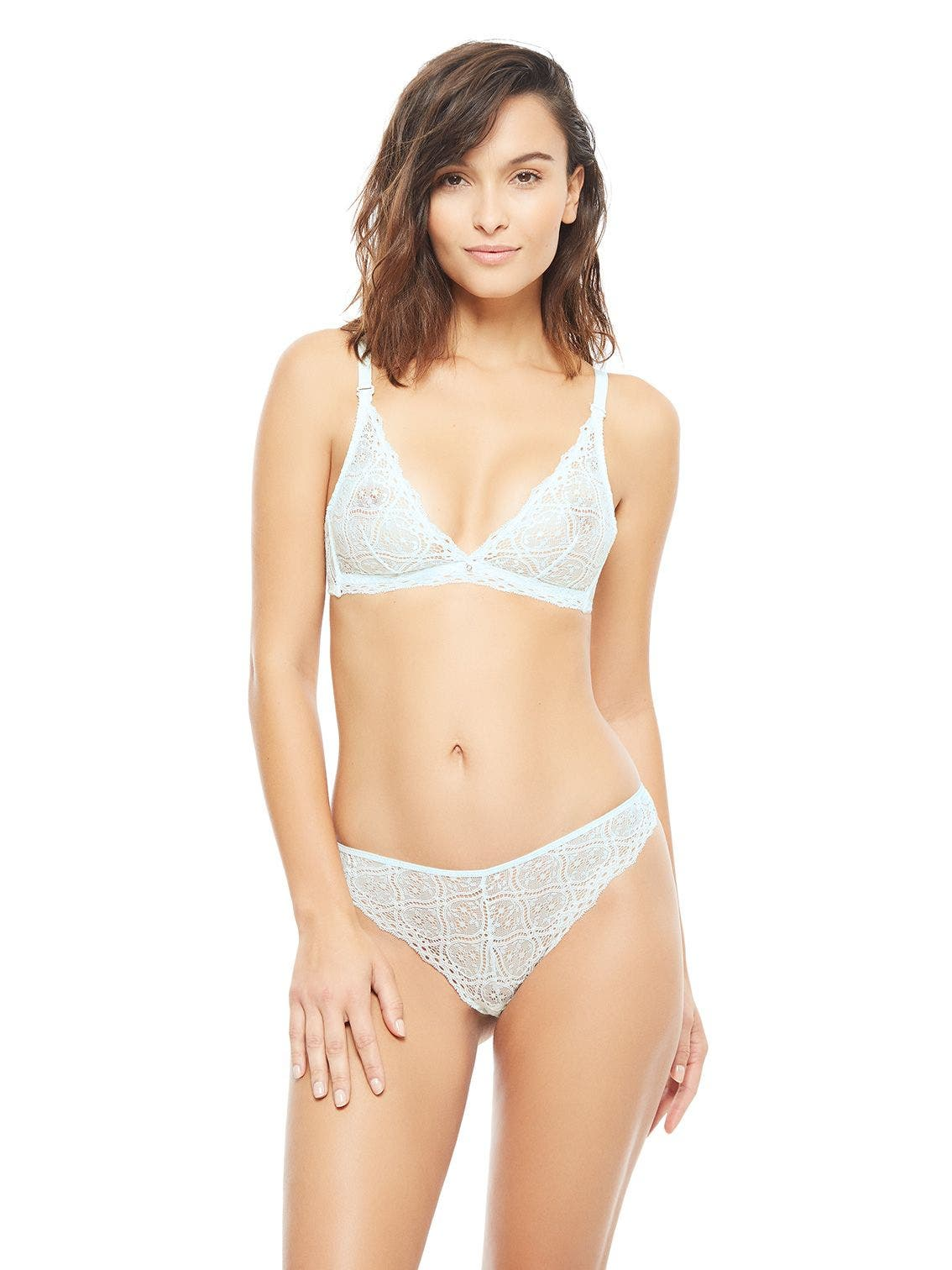 Soft cup triangle bra - Aqua green