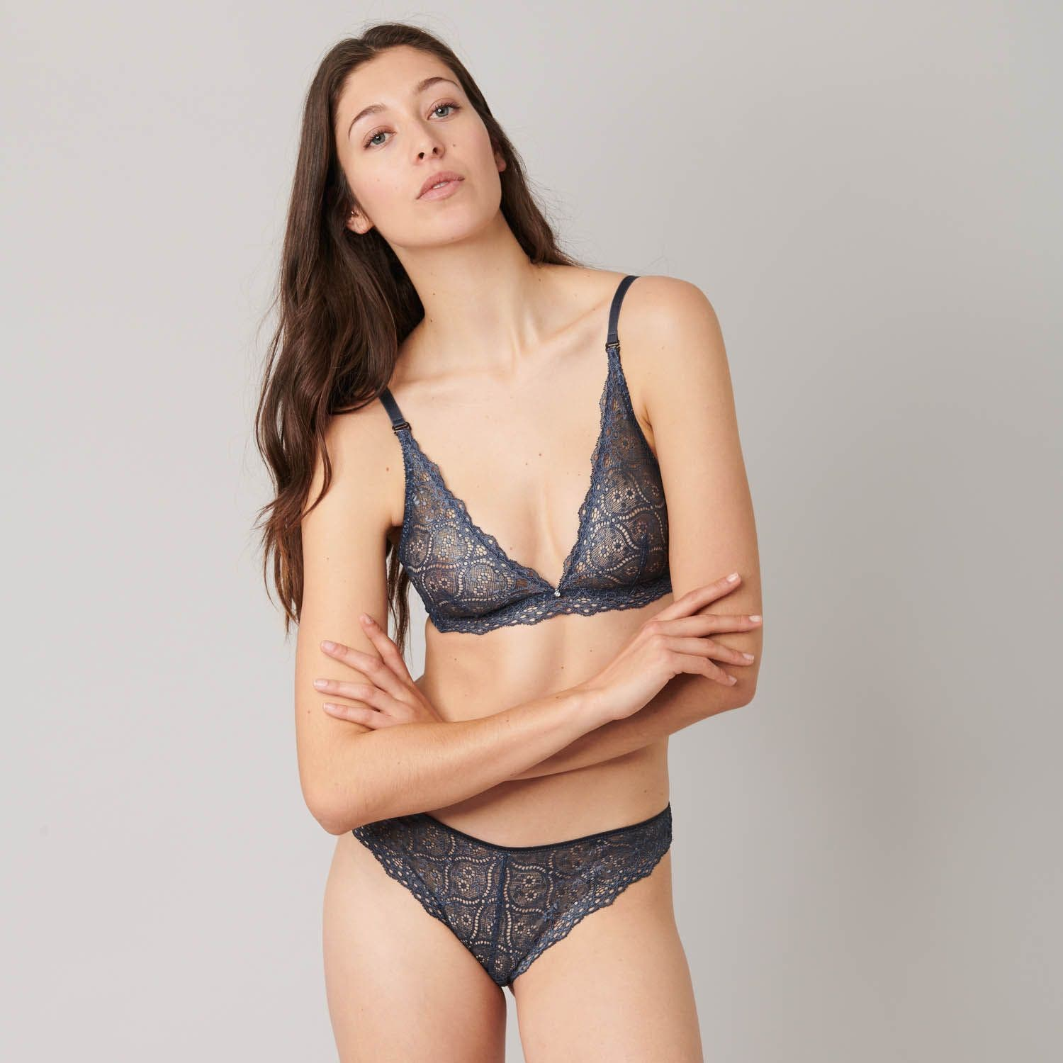 Soft cup triangle bra - Slate