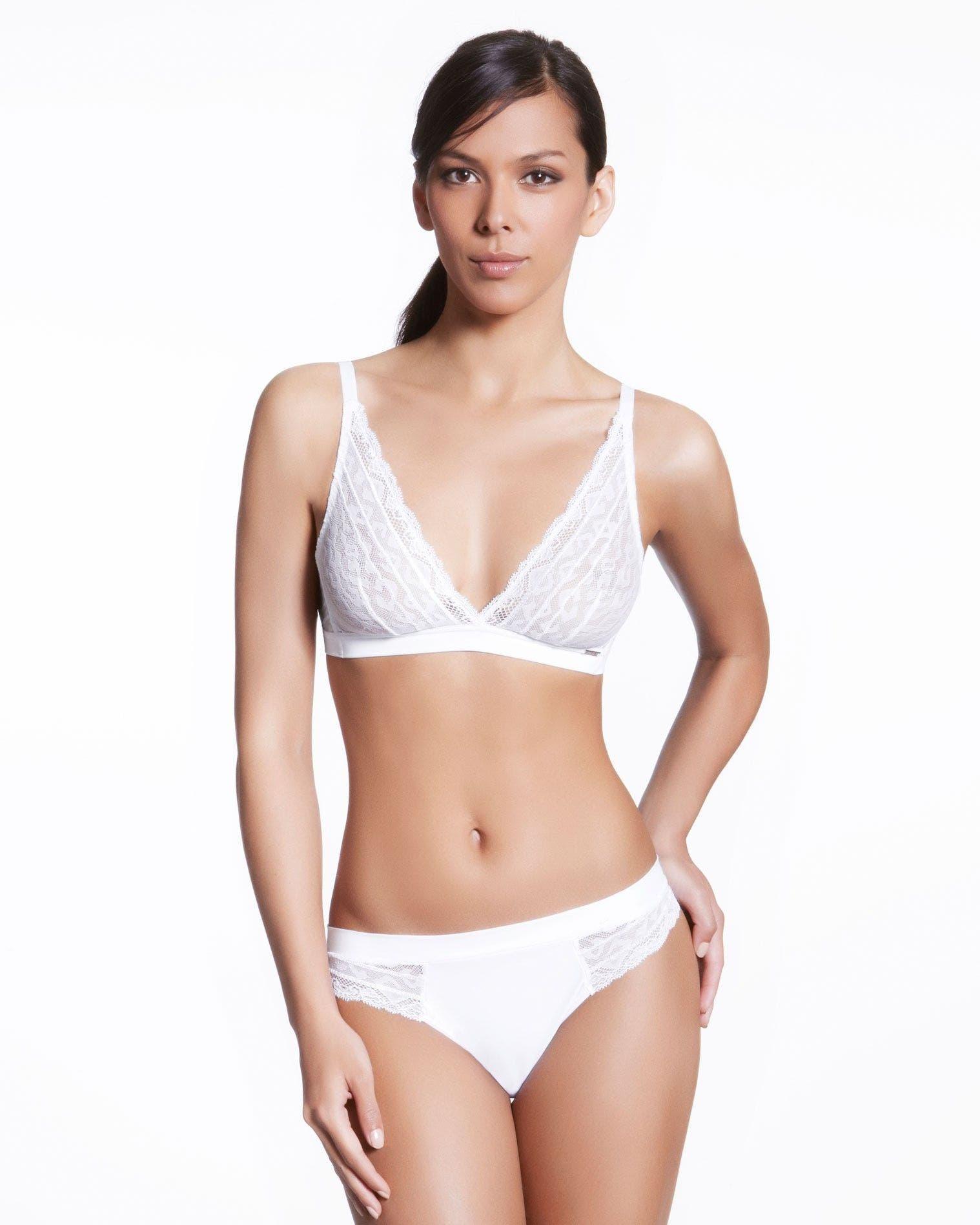 Soft cup triangle bra - White